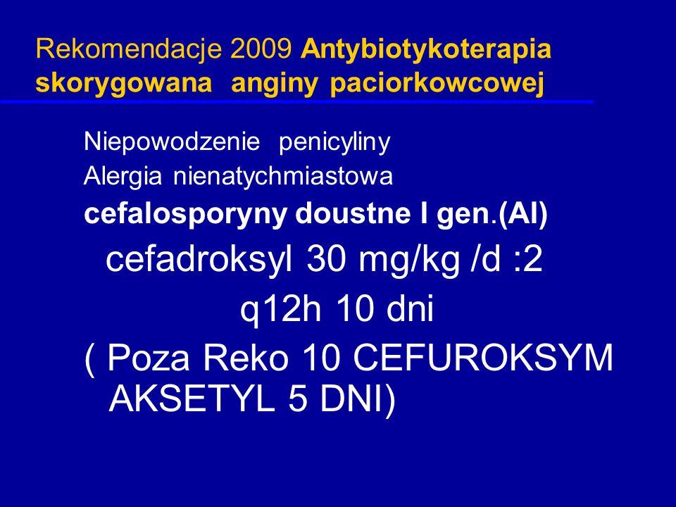 Rekomendacje 2009 Antybiotykoterapia skorygowana anginy paciorkowcowej Niepowodzenie penicyliny Alergia nienatychmiastowa cefalosporyny doustne I gen.