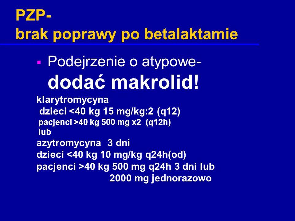 PZP- brak poprawy po betalaktamie  Podejrzenie o atypowe- dodać makrolid! klarytromycyna dzieci <40 kg 15 mg/kg:2 (q12) pacjenci >40 kg 500 mg x2 (q1