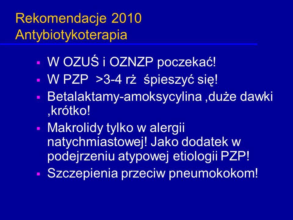 Rekomendacje 2010 Antybiotykoterapia  W OZUŚ i OZNZP poczekać!  W PZP >3-4 rż śpieszyć się!  Betalaktamy-amoksycylina,duże dawki,krótko!  Makrolid