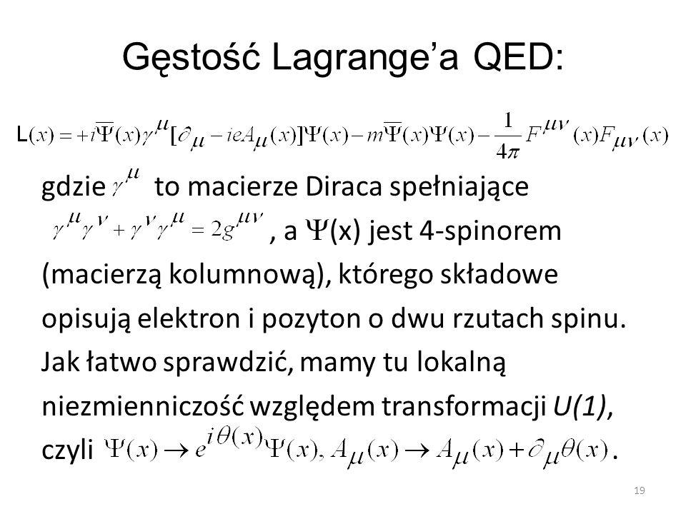 Gęstość Lagrange'a QED: gdzie to macierze Diraca spełniające, a  (x) jest 4-spinorem (macierzą kolumnową), którego składowe opisują elektron i pozyto