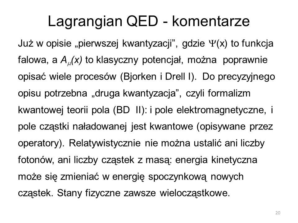 """Lagrangian QED - komentarze Już w opisie """"pierwszej kwantyzacji"""", gdzie  (x) to funkcja falowa, a A  (x) to klasyczny potencjał, można poprawnie opi"""