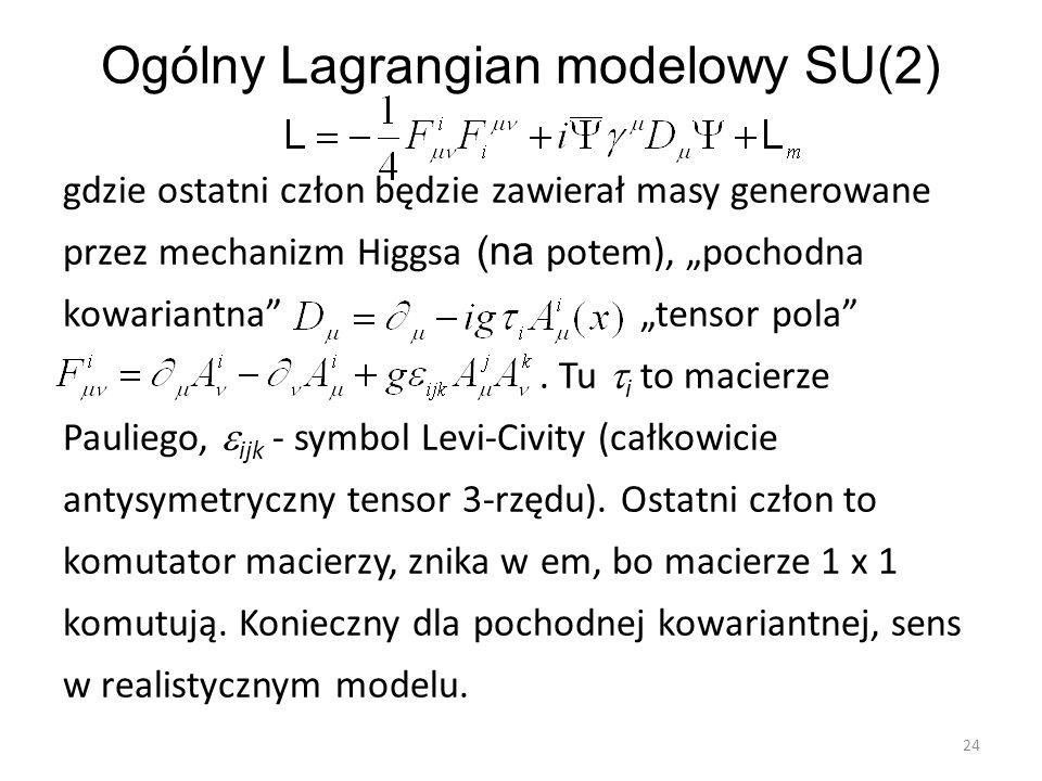 """Ogólny Lagrangian modelowy SU(2) gdzie ostatni człon będzie zawierał masy generowane przez mechanizm Higgsa (na potem), """"pochodna kowariantna"""" """"tensor"""