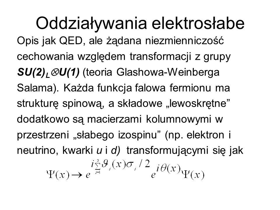 Oddziaływania elektrosłabe Opis jak QED, ale żądana niezmienniczość cechowania względem transformacji z grupy SU(2) L  U(1) (teoria Glashowa-Weinberg