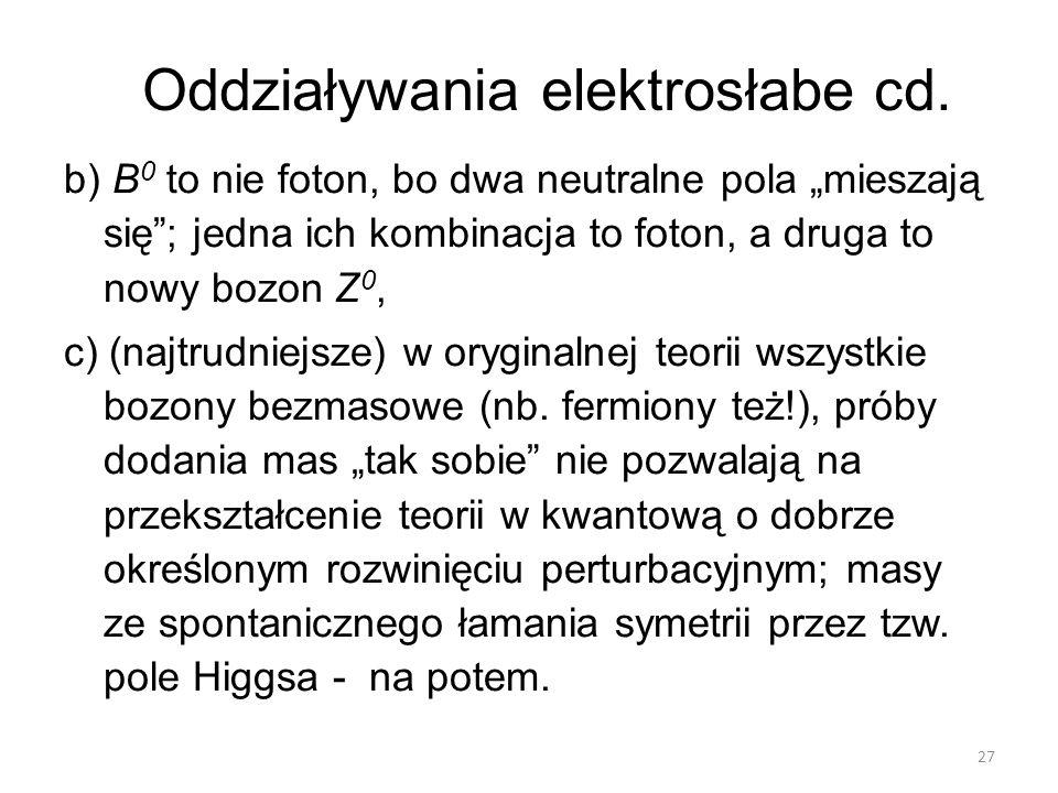 """Oddziaływania elektrosłabe cd. b) B 0 to nie foton, bo dwa neutralne pola """"mieszają się""""; jedna ich kombinacja to foton, a druga to nowy bozon Z 0, c)"""
