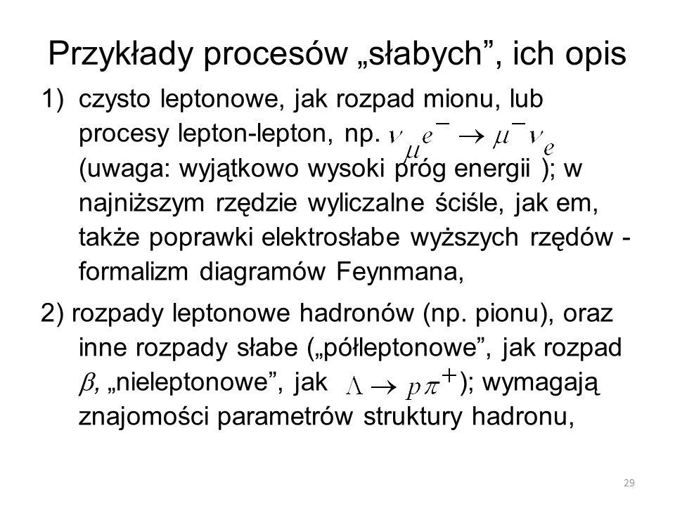 """Przykłady procesów """"słabych"""", ich opis 1)czysto leptonowe, jak rozpad mionu, lub procesy lepton-lepton, np. (uwaga: wyjątkowo wysoki próg energii ); w"""
