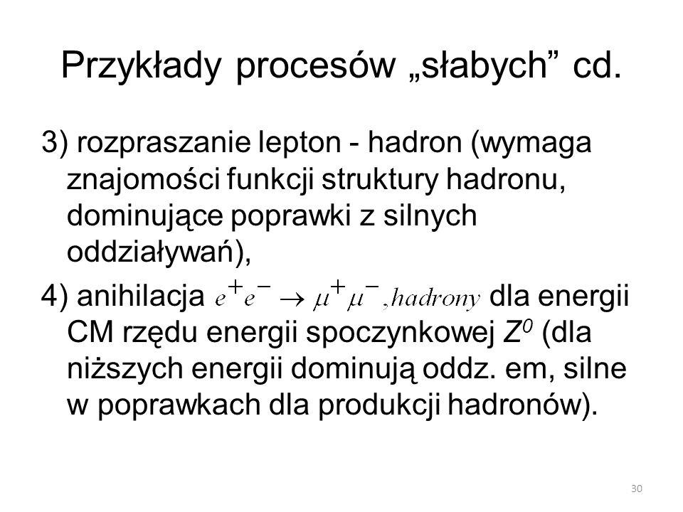 """Przykłady procesów """"słabych"""" cd. 3) rozpraszanie lepton - hadron (wymaga znajomości funkcji struktury hadronu, dominujące poprawki z silnych oddziaływ"""