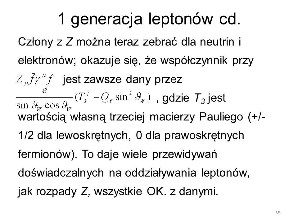 1 generacja leptonów cd. Człony z Z można teraz zebrać dla neutrin i elektronów; okazuje się, że współczynnik przy jest zawsze dany przez, gdzie T 3 j