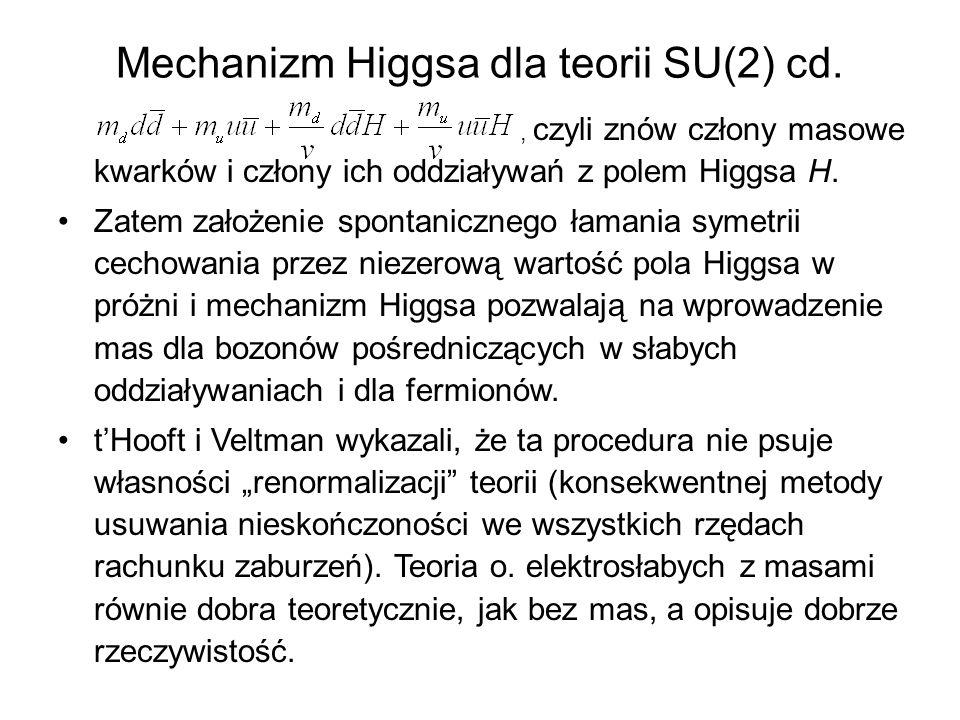 Mechanizm Higgsa dla teorii SU(2) cd., czyli znów człony masowe kwarków i człony ich oddziaływań z polem Higgsa H. Zatem założenie spontanicznego łama