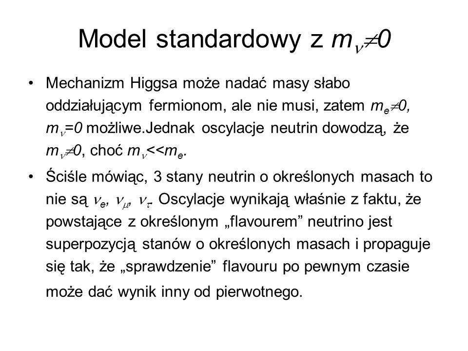 Model standardowy z m  0 Mechanizm Higgsa może nadać masy słabo oddziałującym fermionom, ale nie musi, zatem m e  0, m =0 możliwe.Jednak oscylacje n