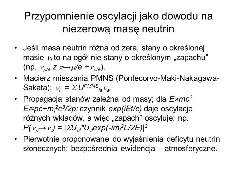 Przypomnienie oscylacji jako dowodu na niezerową masę neutrin Jeśli masa neutrin różna od zera, stany o określonej masie i to na ogół nie stany o okre