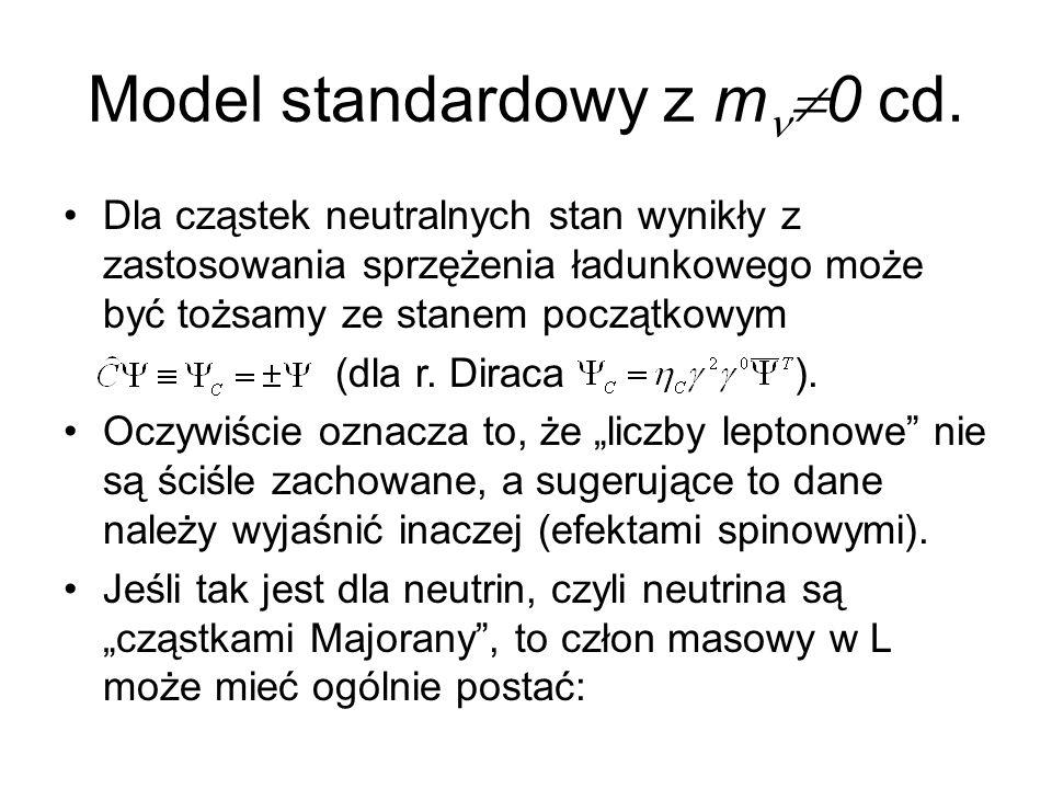 Model standardowy z m  0 cd. Dla cząstek neutralnych stan wynikły z zastosowania sprzężenia ładunkowego może być tożsamy ze stanem początkowym (dla r