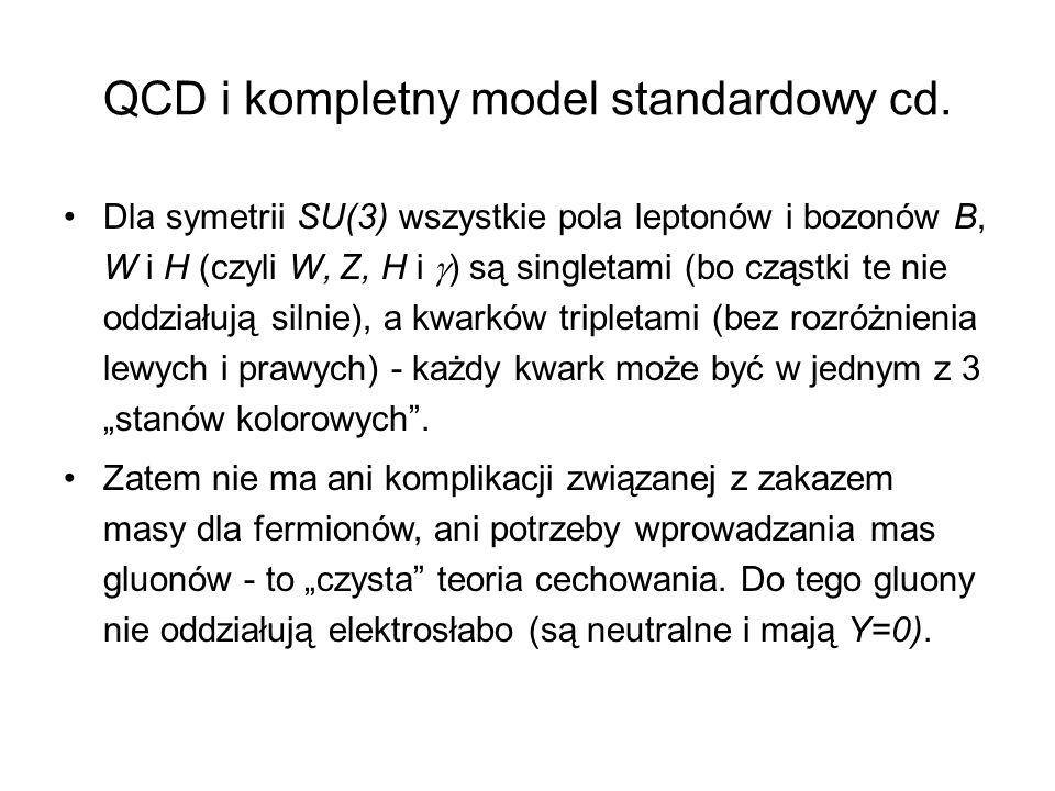 QCD i kompletny model standardowy cd. Dla symetrii SU(3) wszystkie pola leptonów i bozonów B, W i H (czyli W, Z, H i  ) są singletami (bo cząstki te