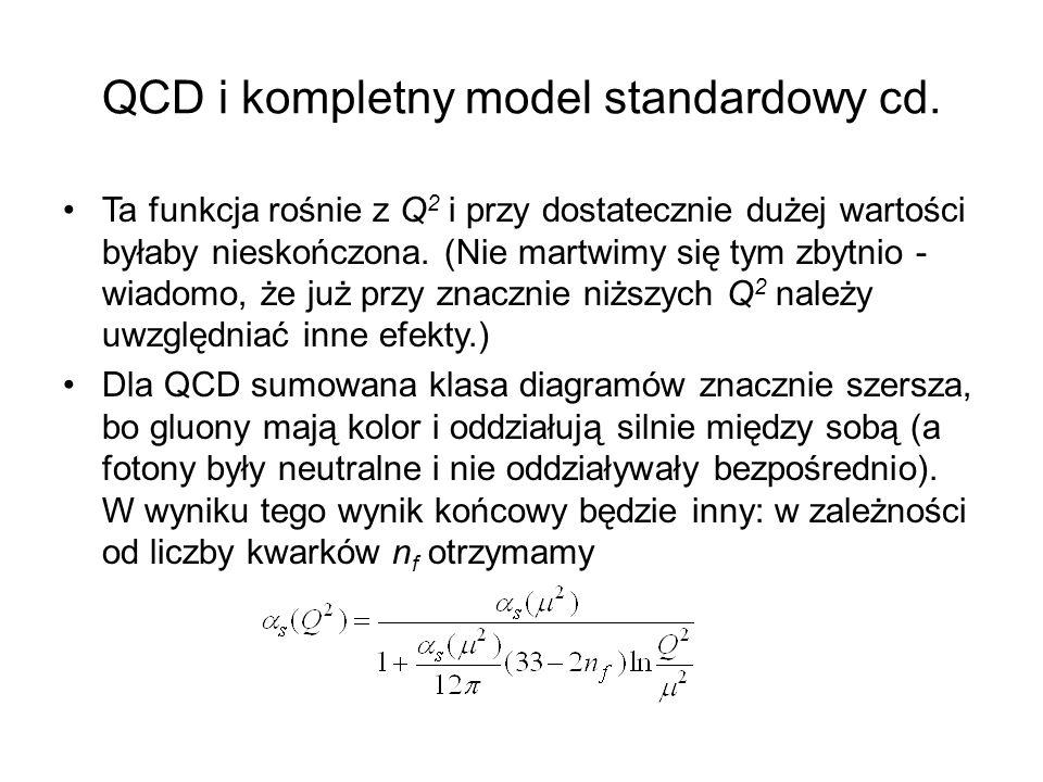 QCD i kompletny model standardowy cd. Ta funkcja rośnie z Q 2 i przy dostatecznie dużej wartości byłaby nieskończona. (Nie martwimy się tym zbytnio -