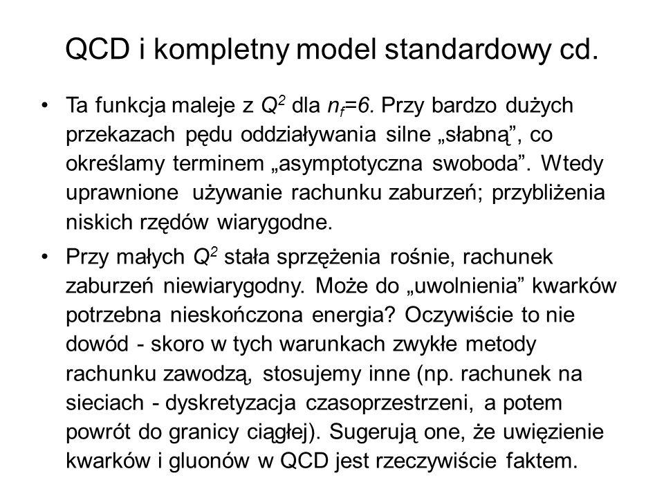"""QCD i kompletny model standardowy cd. Ta funkcja maleje z Q 2 dla n f =6. Przy bardzo dużych przekazach pędu oddziaływania silne """"słabną"""", co określam"""