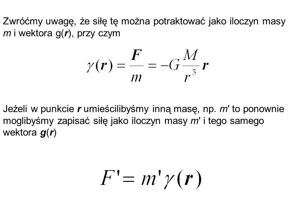 Zwróćmy uwagę, że siłę tę można potraktować jako iloczyn masy m i wektora g(r), przy czym Jeżeli w punkcie r umieścilibyśmy inną masę, np. m' to ponow