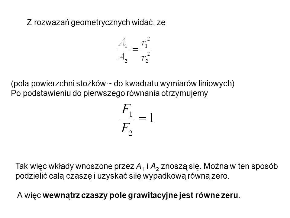 Z rozważań geometrycznych widać, że (pola powierzchni stożków ~ do kwadratu wymiarów liniowych) Po podstawieniu do pierwszego równania otrzymujemy Tak