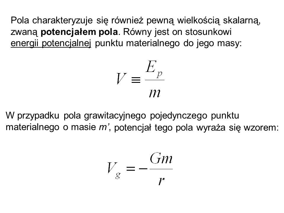 Pola charakteryzuje się również pewną wielkością skalarną, zwaną potencjałem pola. Równy jest on stosunkowi energii potencjalnej punktu materialnego d