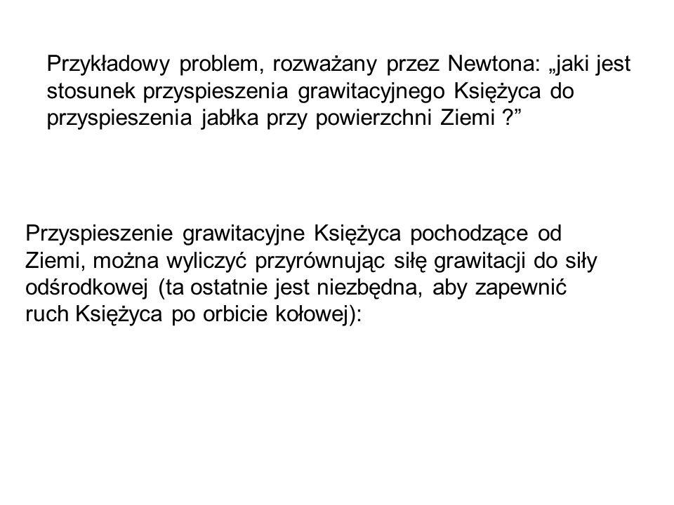 """Przykładowy problem, rozważany przez Newtona: """"jaki jest stosunek przyspieszenia grawitacyjnego Księżyca do przyspieszenia jabłka przy powierzchni Zie"""