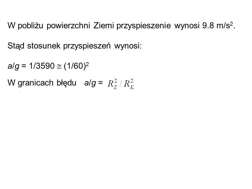 W pobliżu powierzchni Ziemi przyspieszenie wynosi 9.8 m/s 2. Stąd stosunek przyspieszeń wynosi: a/g = 1/3590  (1/60) 2 W granicach błędu a/g =.