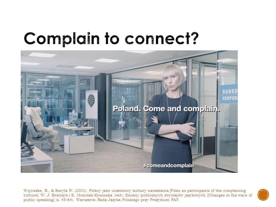 Wojciszke, B., & Baryla W. (2001). Polacy jako uczestnicy kultury narzekania [Poles as participants of the complaining culture]. W: J. Bralczyk i K. M