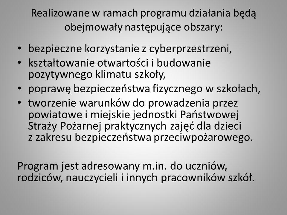 Realizowane w ramach programu działania będą obejmowały następujące obszary: bezpieczne korzystanie z cyberprzestrzeni, kształtowanie otwartości i bud