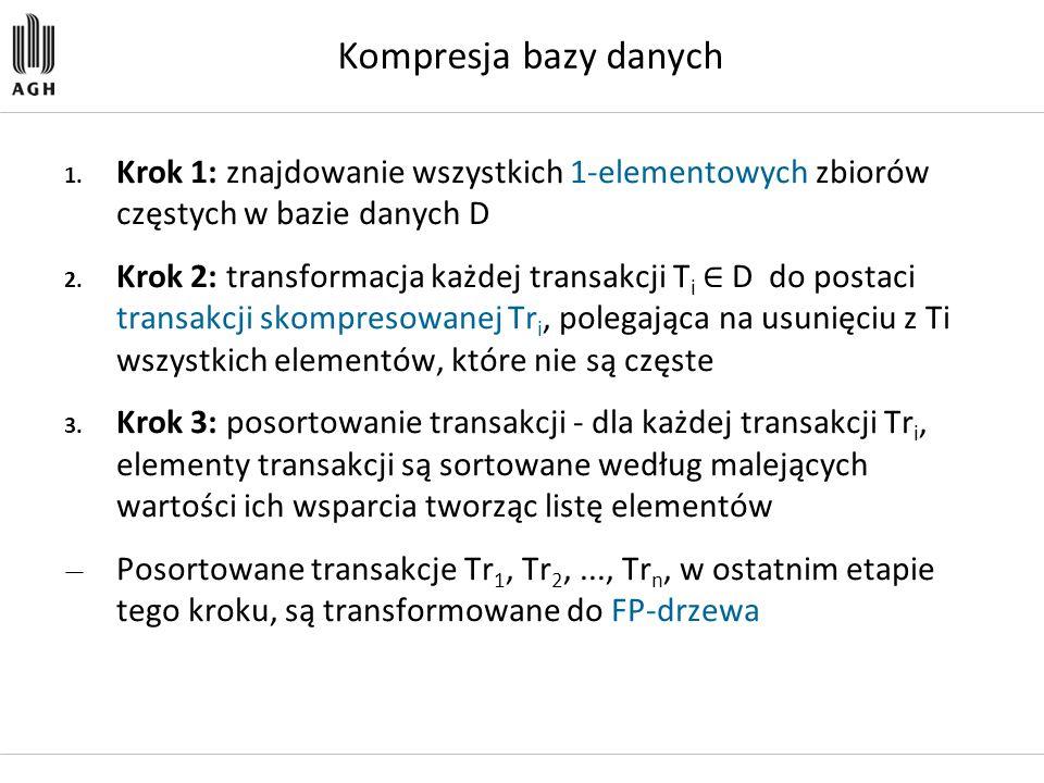 Kompresja bazy danych 1. Krok 1: znajdowanie wszystkich 1-elementowych zbiorów częstych w bazie danych D 2. Krok 2: transformacja każdej transakcji T