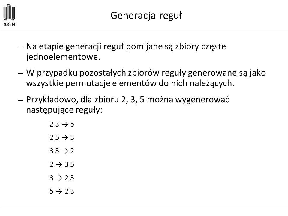 Generacja reguł — Na etapie generacji reguł pomijane są zbiory częste jednoelementowe. — W przypadku pozostałych zbiorów reguły generowane są jako wsz