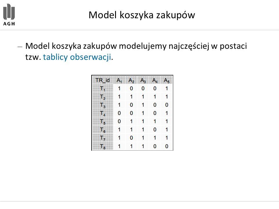 Model koszyka zakupów — Model koszyka zakupów modelujemy najczęściej w postaci tzw. tablicy obserwacji.