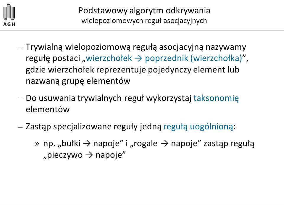 """— Trywialną wielopoziomową regułą asocjacyjną nazywamy regułę postaci """"wierzchołek → poprzednik (wierzchołka)"""", gdzie wierzchołek reprezentuje pojedyn"""