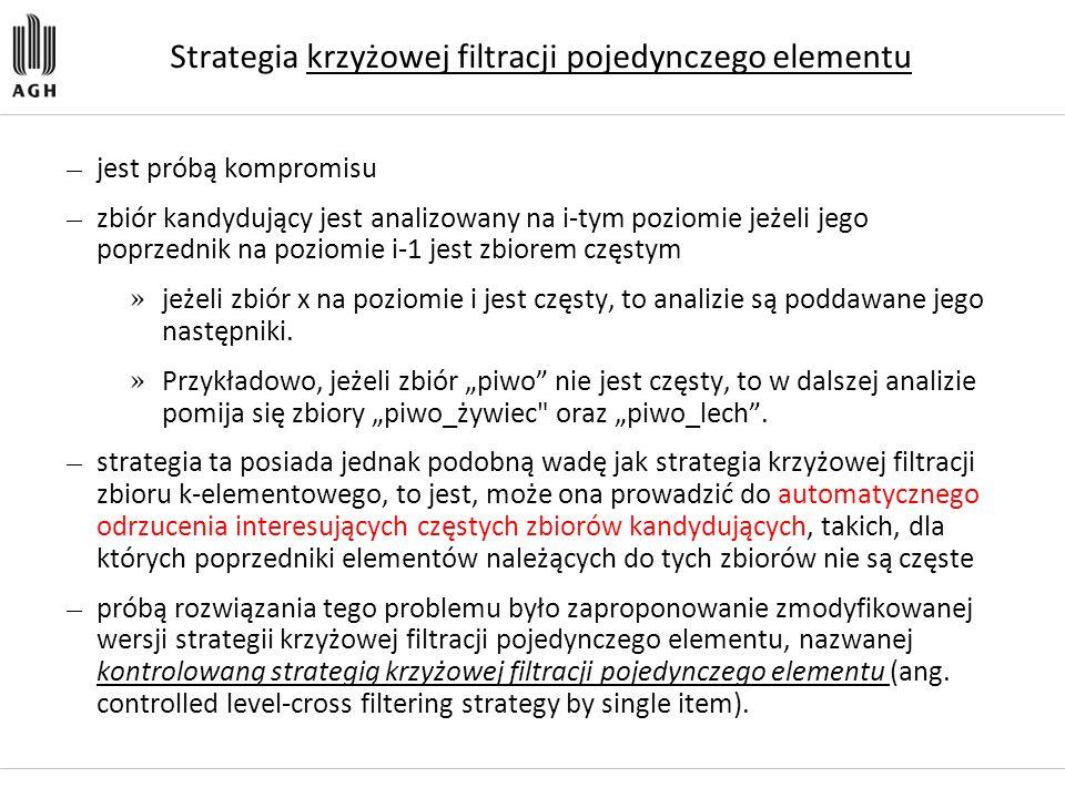 Strategia krzyżowej filtracji pojedynczego elementu — jest próbą kompromisu — zbiór kandydujący jest analizowany na i-tym poziomie jeżeli jego poprzed