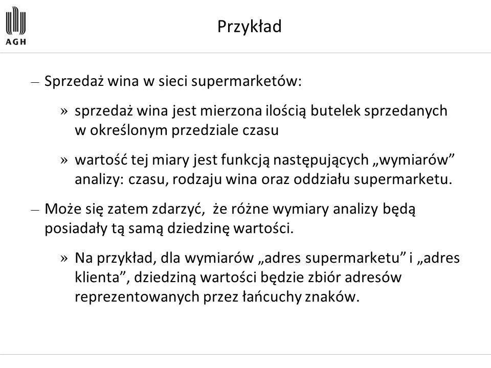 Przykład — Sprzedaż wina w sieci supermarketów: » sprzedaż wina jest mierzona ilością butelek sprzedanych w określonym przedziale czasu » wartość tej