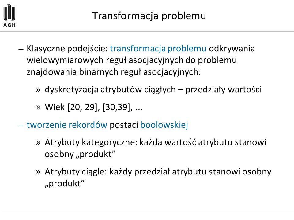 Transformacja problemu — Klasyczne podejście: transformacja problemu odkrywania wielowymiarowych reguł asocjacyjnych do problemu znajdowania binarnych