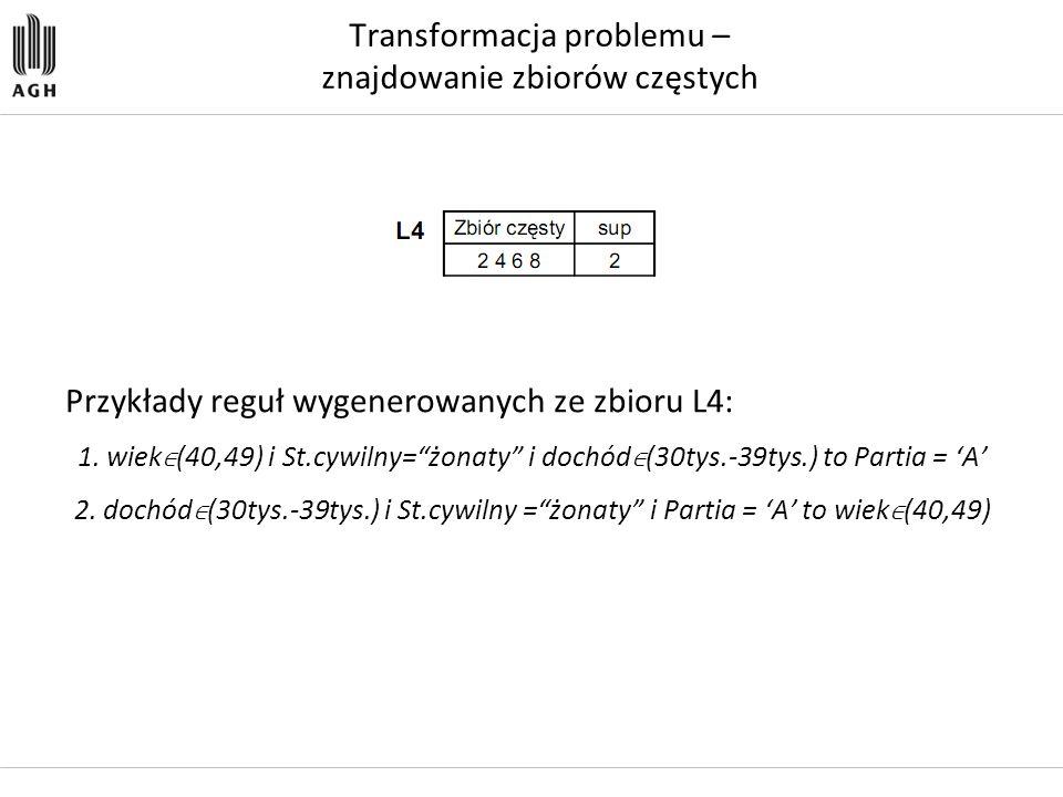 """Transformacja problemu – znajdowanie zbiorów częstych Przykłady reguł wygenerowanych ze zbioru L4: 1. wiek ∈ (40,49) i St.cywilny=""""żonaty"""" i dochód ∈"""