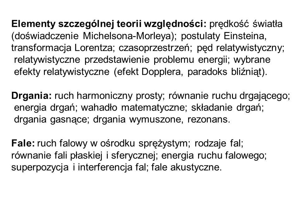 Elementy szczególnej teorii względności: prędkość światła (doświadczenie Michelsona-Morleya); postulaty Einsteina, transformacja Lorentza; czasoprzest