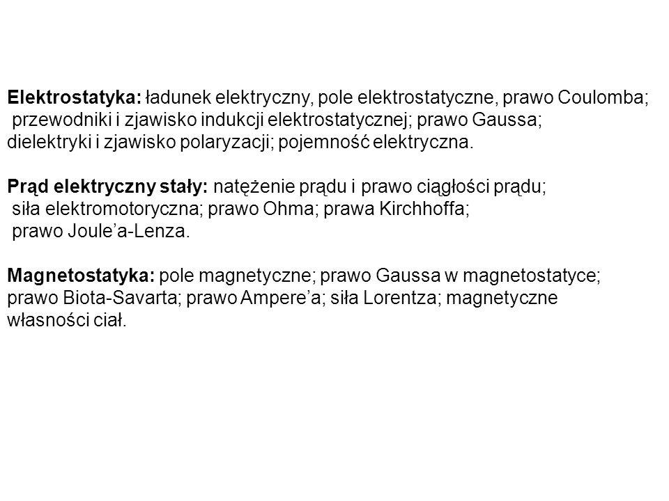 Elektrostatyka: ładunek elektryczny, pole elektrostatyczne, prawo Coulomba; przewodniki i zjawisko indukcji elektrostatycznej; prawo Gaussa; dielektry