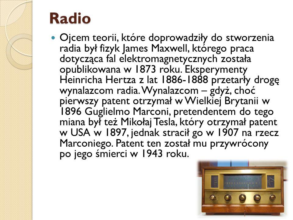 Radio Ojcem teorii, które doprowadziły do stworzenia radia był fizyk James Maxwell, którego praca dotycząca fal elektromagnetycznych została opublikow