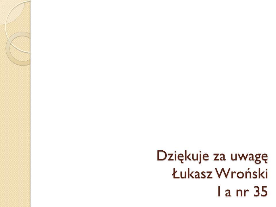 Dziękuje za uwagę Łukasz Wroński I a nr 35
