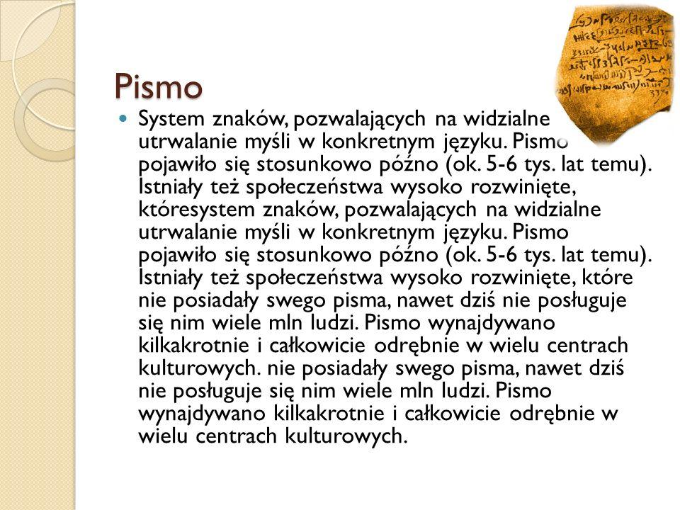 Pismo System znaków, pozwalających na widzialne utrwalanie myśli w konkretnym języku. Pismo pojawiło się stosunkowo późno (ok. 5-6 tys. lat temu). Ist