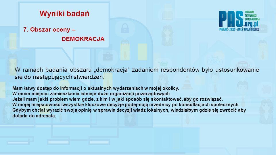 """W ramach badania obszaru """"demokracja zadaniem respondentów było ustosunkowanie się do następujących stwierdzeń: Wyniki badań 7."""