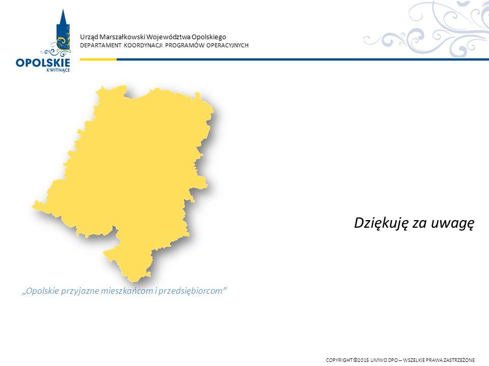 Urząd Marszałkowski Województwa Opolskiego DEPARTAMENT KOORDYNACJI PROGRAMÓW OPERACYJNYCH COPYRIGHT © 2015 UMWO DPO – WSZELKIE PRAWA ZASTRZEŻONE Dzięk
