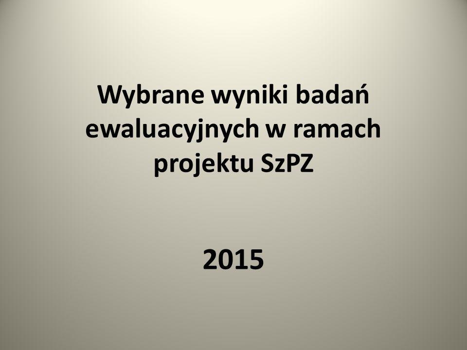 Wybrane wyniki badań ewaluacyjnych w ramach projektu SzPZ 2015