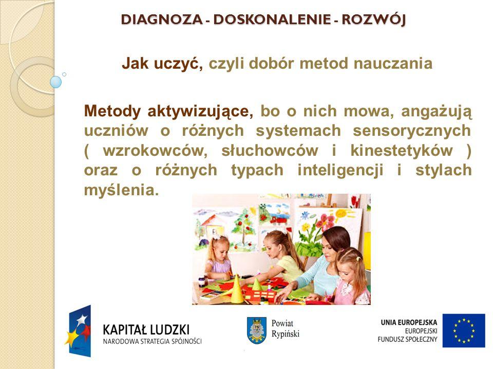 DIAGNOZA - DOSKONALENIE - ROZWÓJ Jak uczyć, czyli dobór metod nauczania Metody aktywizujące, bo o nich mowa, angażują uczniów o różnych systemach sensorycznych ( wzrokowców, słuchowców i kinestetyków ) oraz o różnych typach inteligencji i stylach myślenia.