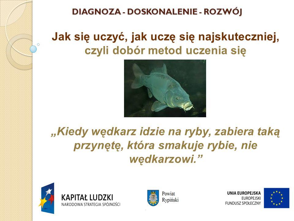 """DIAGNOZA - DOSKONALENIE - ROZWÓJ Jak się uczyć, jak uczę się najskuteczniej, czyli dobór metod uczenia się """"Kiedy wędkarz idzie na ryby, zabiera taką przynętę, która smakuje rybie, nie wędkarzowi. Aleksander Kamiński"""