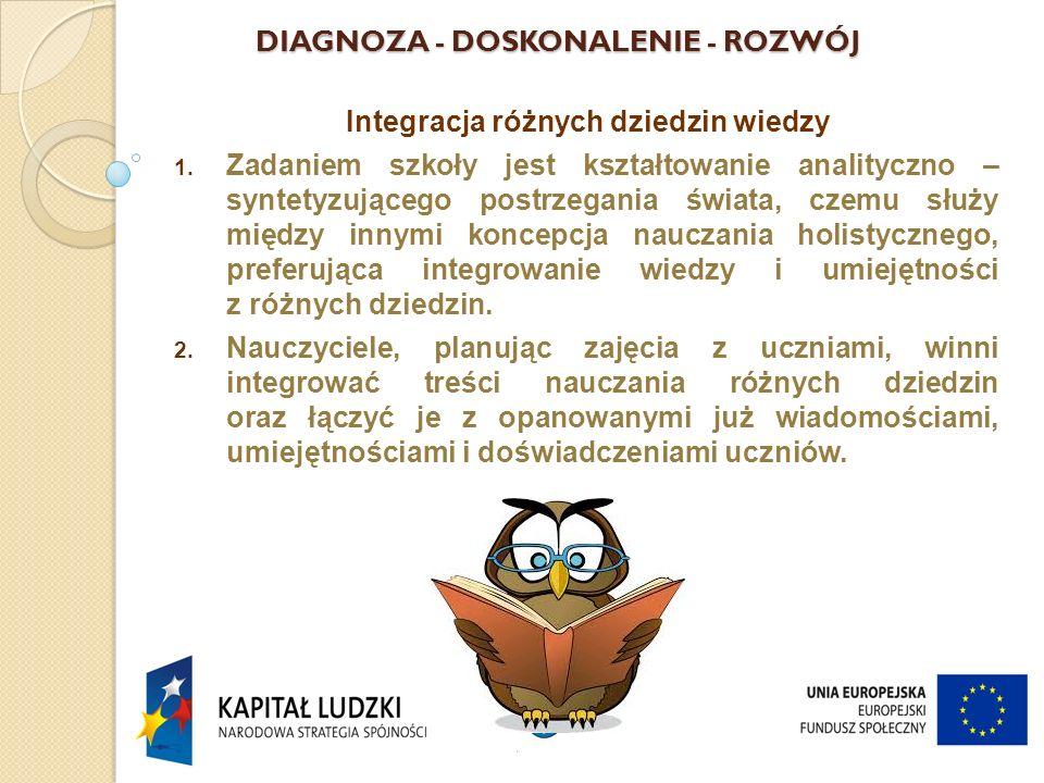 DIAGNOZA - DOSKONALENIE - ROZWÓJ Integracja różnych dziedzin wiedzy 1.
