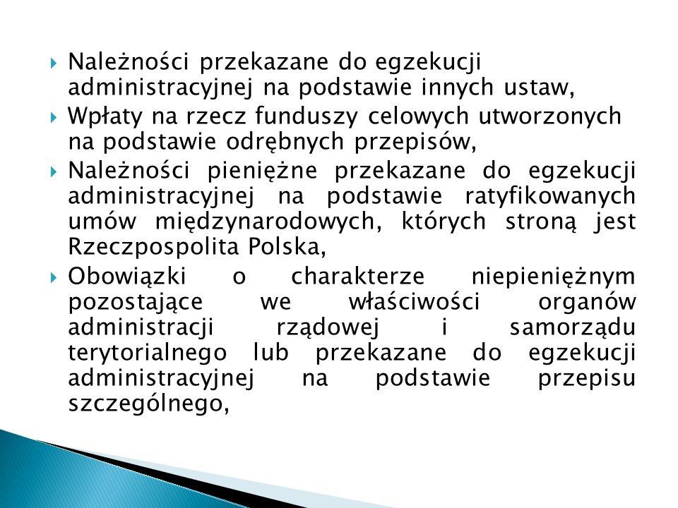  Należności przekazane do egzekucji administracyjnej na podstawie innych ustaw,  Wpłaty na rzecz funduszy celowych utworzonych na podstawie odrębnych przepisów,  Należności pieniężne przekazane do egzekucji administracyjnej na podstawie ratyfikowanych umów międzynarodowych, których stroną jest Rzeczpospolita Polska,  Obowiązki o charakterze niepieniężnym pozostające we właściwości organów administracji rządowej i samorządu terytorialnego lub przekazane do egzekucji administracyjnej na podstawie przepisu szczególnego,