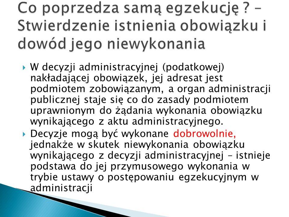  W decyzji administracyjnej (podatkowej) nakładającej obowiązek, jej adresat jest podmiotem zobowiązanym, a organ administracji publicznej staje się