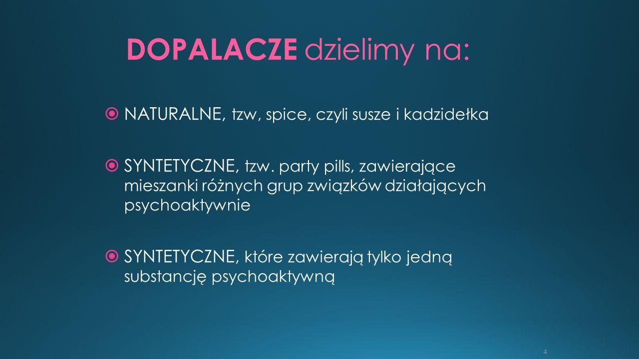 4 DOPALACZE dzielimy na:  NATURALNE, tzw, spice, czyli susze i kadzidełka  SYNTETYCZNE, tzw. party pills, zawierające mieszanki różnych grup związkó