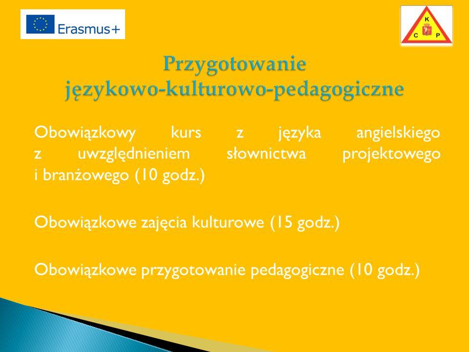 Obowiązkowy kurs z języka angielskiego z uwzględnieniem słownictwa projektowego i branżowego (10 godz.) Obowiązkowe zajęcia kulturowe (15 godz.) Obowiązkowe przygotowanie pedagogiczne (10 godz.)