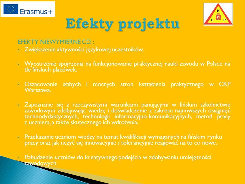 EFEKTY NIEWYMIERNE CD. : Zwiększenie aktywności językowej uczestników.