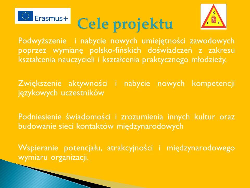 Podwyższenie i nabycie nowych umiejętności zawodowych poprzez wymianę polsko-fińskich doświadczeń z zakresu kształcenia nauczycieli i kształcenia praktycznego młodzieży.